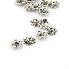 50pcs Flower Antique Silver Loose Spacer Metal End Bead Caps For Jewelry Making Finding Diy Handmade Accessories