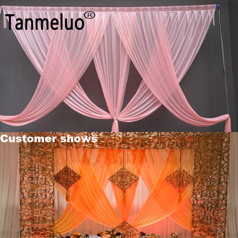 Image 2 - Luxury pink wedding backdrop curtain swags for 3*3M background event party curtain swags only Customized Color-in Party Backdrops from Home & Garden