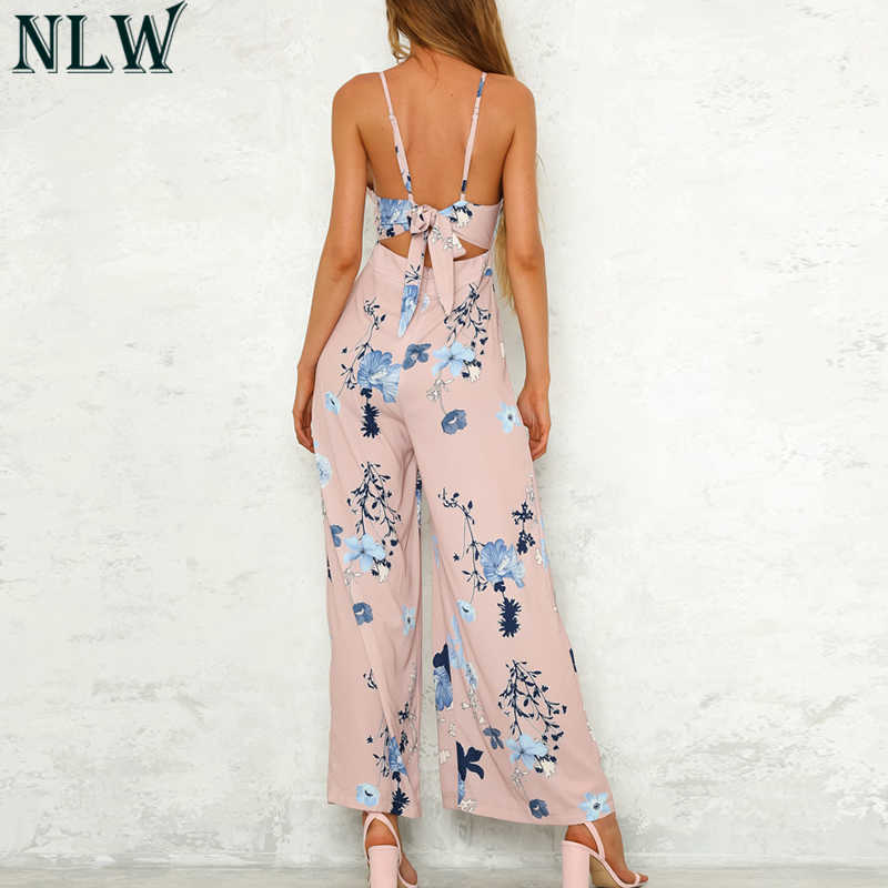 NLW الوردي الأزهار الصيف حللا أنيقة المرأة بذلة 2019 الشيفون عالية الخصر وزرة عارية الذراعين رومبير الشاطئ مثير ارتداءها