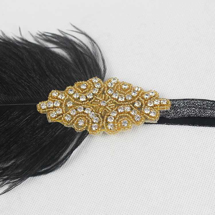 1920s Great Gatsby Headpiece Black Gold Beading Feather Vintage Headband Flapper Costume Party Gift 6