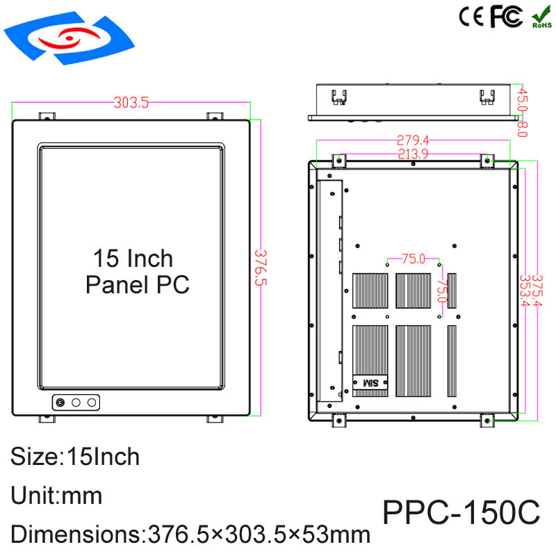 Image 5 - Factory Wholesale 15 Inch Aluminum Case Fanless Industrial Touch Screen Panel PC Support WiFi/3G/4G/LTE Application Commercial-in Industrial Computer & Accessories from Computer & Office