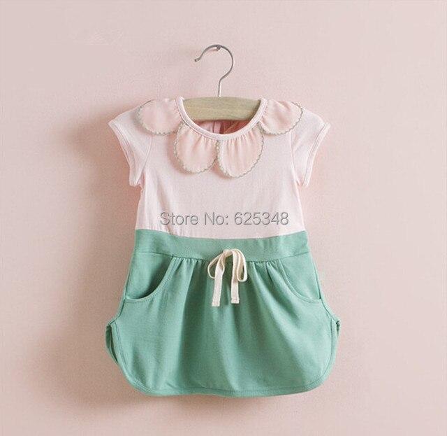 Розничная торговля-Хорошее Качество НОВЫЕ 2017 Летние цветочные Детская одежда, дети пачка новорожденных девочек dress baby dress розовый желтый