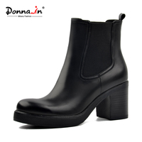 Donna In Winter Boots Thick Wool Insole Snow Boots Classic Chelsea Ankle Boots Genuine Leather Platform