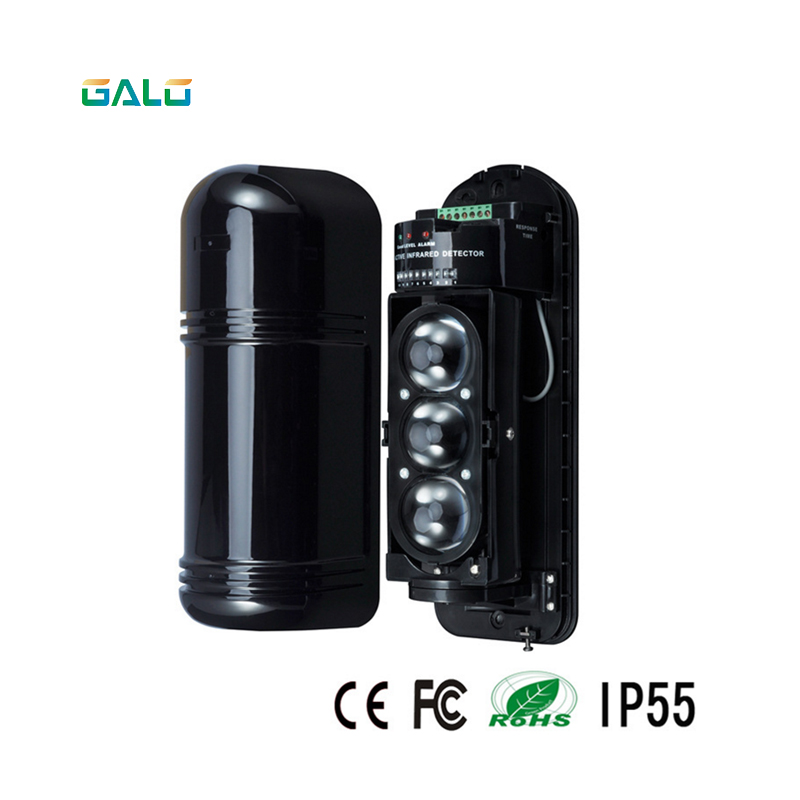 Anti-intrusion 3-Beams Intelligent IR Photocell Sensor , Outdoor Detctor distance 200M For Home Alarm SysttemAnti-intrusion 3-Beams Intelligent IR Photocell Sensor , Outdoor Detctor distance 200M For Home Alarm Systtem