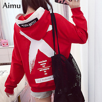 harajuku big size red black white Casual Pullover   Hoodie     Sweatshirt   2018 Autumn Women letter print Streetwear   hoody     Sweatshirt