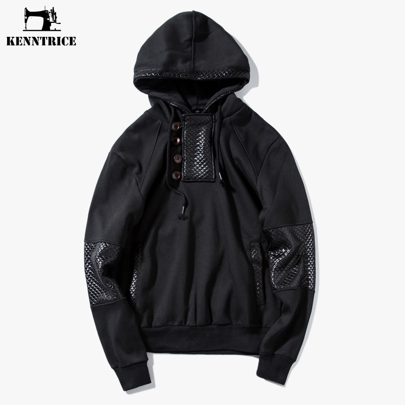 KENNTRICE Black Male Casual Sweatshirts Leather Patchwork Hoodies Men Single Breasted Pullover Black Men's Hoodies Size M-XXL