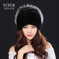 YCFUR Women Fur Beanies Hats Winter 2016 Knit Genuine Rex Rabbit Fur Caps With Silver Fox Fur Winter Fur Hat Female YH201