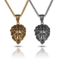 LINSOIR 2017 Vintage Hip Hop Lion Necklace For Men Luxury Stainless Steel Male Chocker Necklace Jewelry