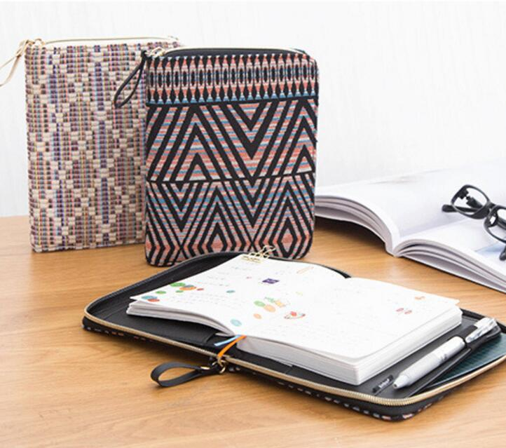 журнал style обложка - Vintage Cloth Cover Zipper Bag Style Journal DIY Diary 128 Sheets A6 Undated Daily Planner Gift 2017 School Office Supply