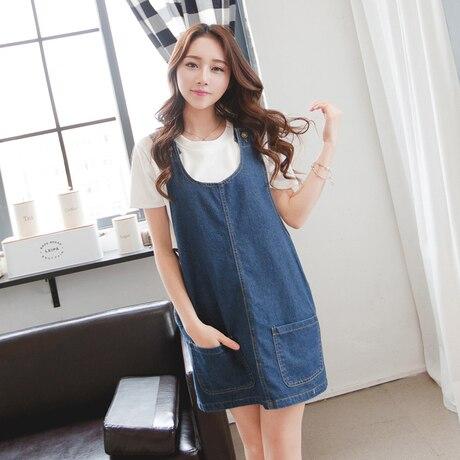 Denim Dress Women 2017 Summer Korean Style Casual Loose Pocket Blue Jeans Overall Dress Rompers