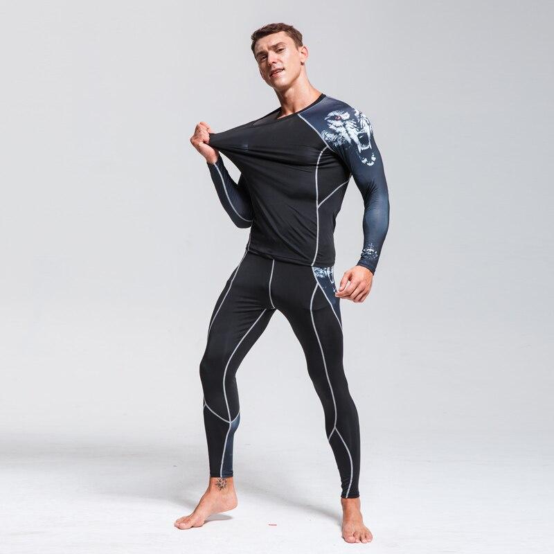 Men's Thermal Pants >Thermal Underwear Suits>Running Athletic Pants >Men's Leggings Shirts Fitness Training Pants Men Rashguard