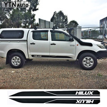 hilux racing side stripe graphic Vinyl sticker for TOYOTA HILUX decals free shipping 4 pc hilux side stripe graphic vinyl sticker for toyota hilux decals