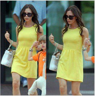 Free Shipping victoria same style mini dresses red/yellow color ...