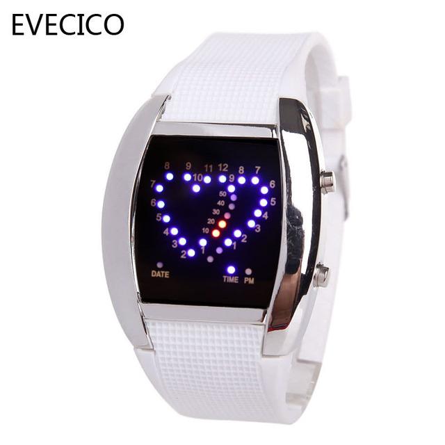 Evecico coração personalizado mesa amantes mesa spermatagonial relógio led relógio eletrônico a tendência do digital