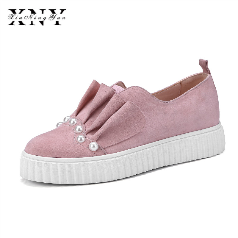 XIUNINGYAN Spring Summer New Leather Sneakers Women Shoe Casual Leather Shoes Woman Flat Shoes Pearl Ladies Loafers Big Size 40 34 43 big small size new 2016 summer fashion casual shoes moccasins bottom shoe platform flat for women s loafers ladies