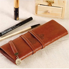 Vintage Roll Leather Makeup Cosmetic Brush Pen Case Organizer Tidy Bag Pouch