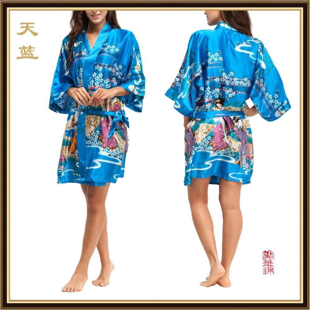 女性のための 2016 シルク着物ローブバスローブロングためのブライドメイドは Longue ファム女性ドレッシング花嫁介添人ローブ