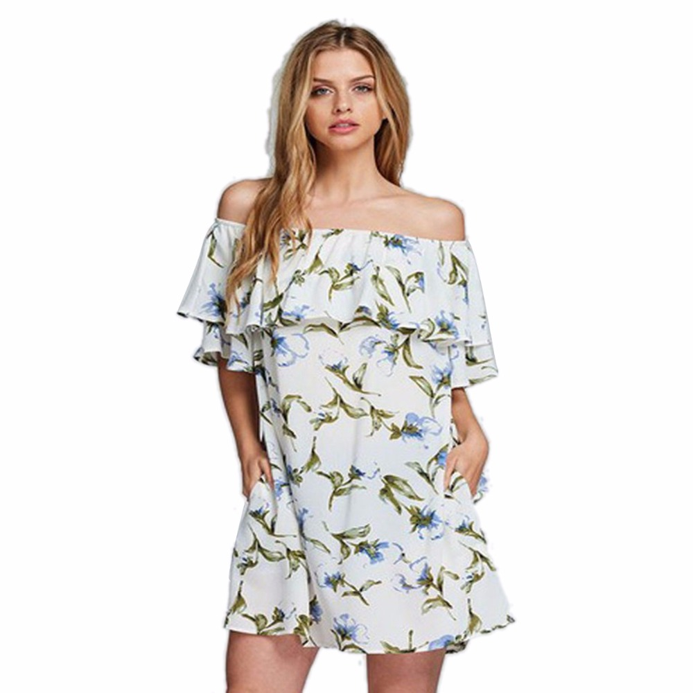 2ece7b540ef Aliexpress Ebay Europe Trade Explosion Source Word Shoulder Sexy Backless  Dress Vestidos Print dress Beach Dress 2018-in Dresses from Women s Clothing  on ...