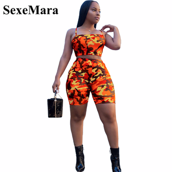 SexeMara Camouflage Print Casual Two Piece Set Crop Top and Pants Summer Short Tracksuit Women Sexy Bodycon Romper D74-AA21 photo shoot