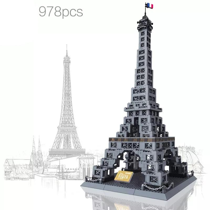 France tour Eiffel Architecture blocs de construction modèle créatif pour enfants cadeaux créateur 978 pièces Compatible avec L marque