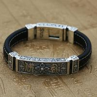 Sterling 925 Solid Silver Leather Religious Buddha Lection Lock Bangle Bracelet