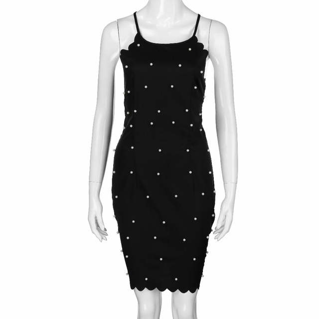 30472d18e198d Sexy Slim Womens Bodycon Midi Dress Summer Fashion Beading Sleeveless  Halter Party Dresses Ladies Elegant Black Formal Dress #JO