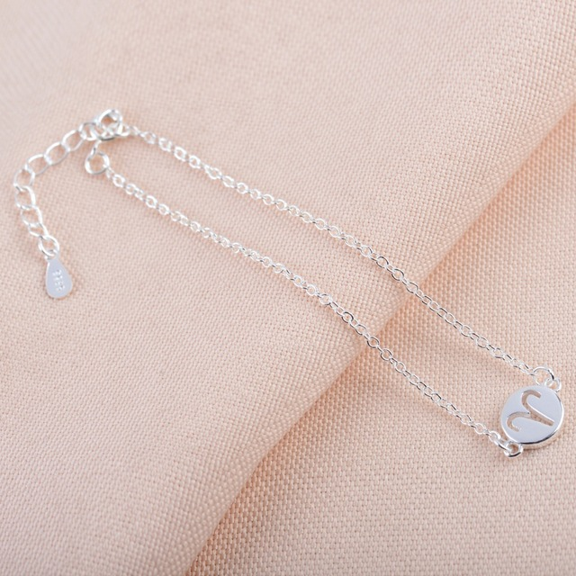 925 Silver Lovely Aries Bracelets for Women Simple 12 Zodiac Constellation Sign Cuff Bracelet Special Birthday Gifts