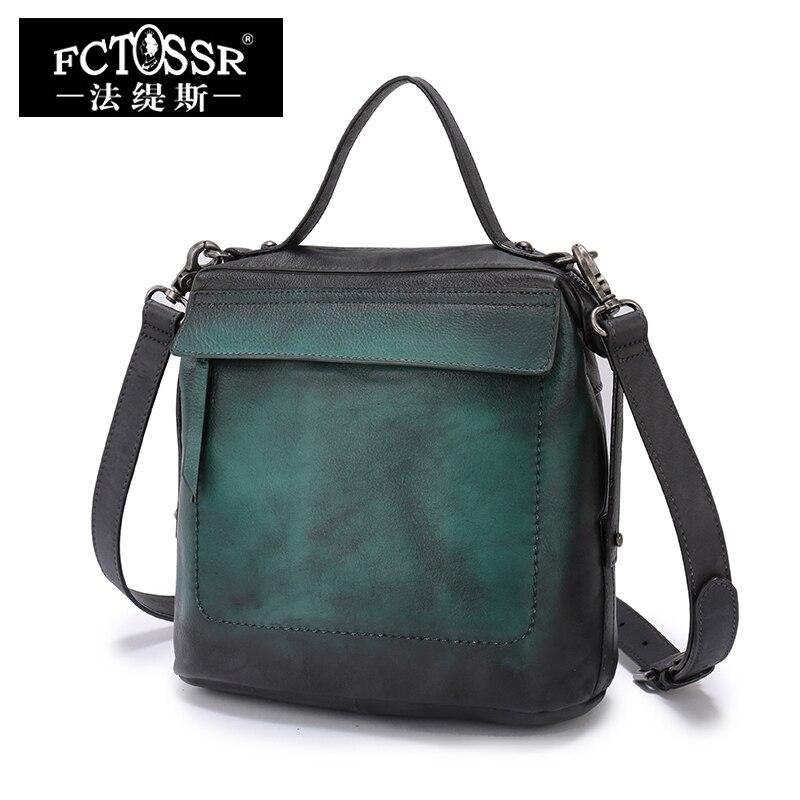 Small Tote Women Sling Bag Retro Genuine Leather 2019 Latest Handmade Messenger Bags Ladies Shoulder Flap Handbags Top-handle