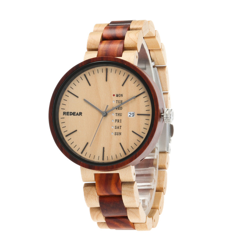 REDEAR Men Wood Watches Date Calendar Top Brand Luxury Wooden Men's Quartz Wristwatches Relogio bobo bird brand new sun glasses men square wood oversized zebra wood sunglasses women with wooden box oculos 2017