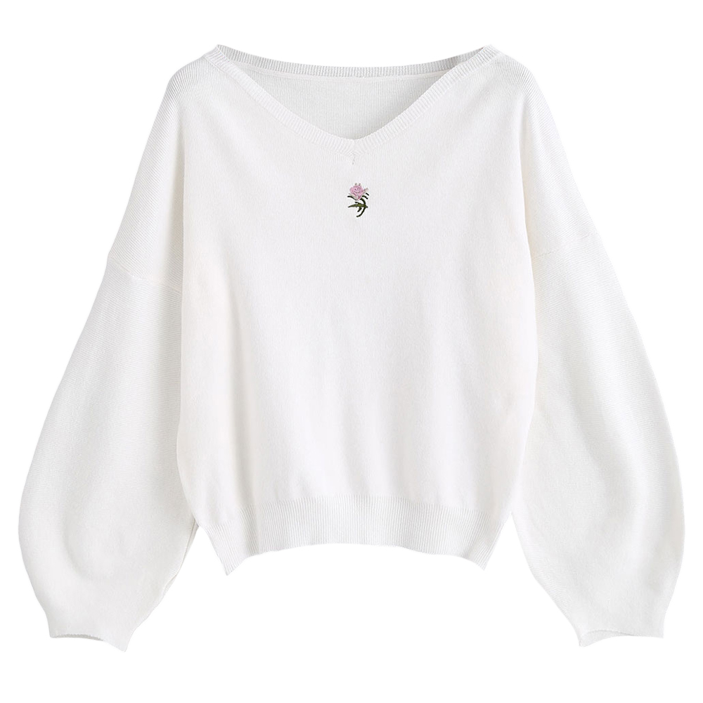 Kenancy White Color Embroidered V Neck Lantern Sleeves Women Sweaters Knit Casual Pullovers Jumper Oversized Loose Pull Femme