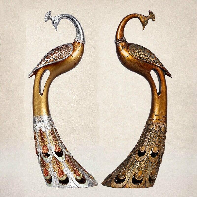 ᐅAdornos de estilo europeo animales Pavo Real retro Sala decoración ...