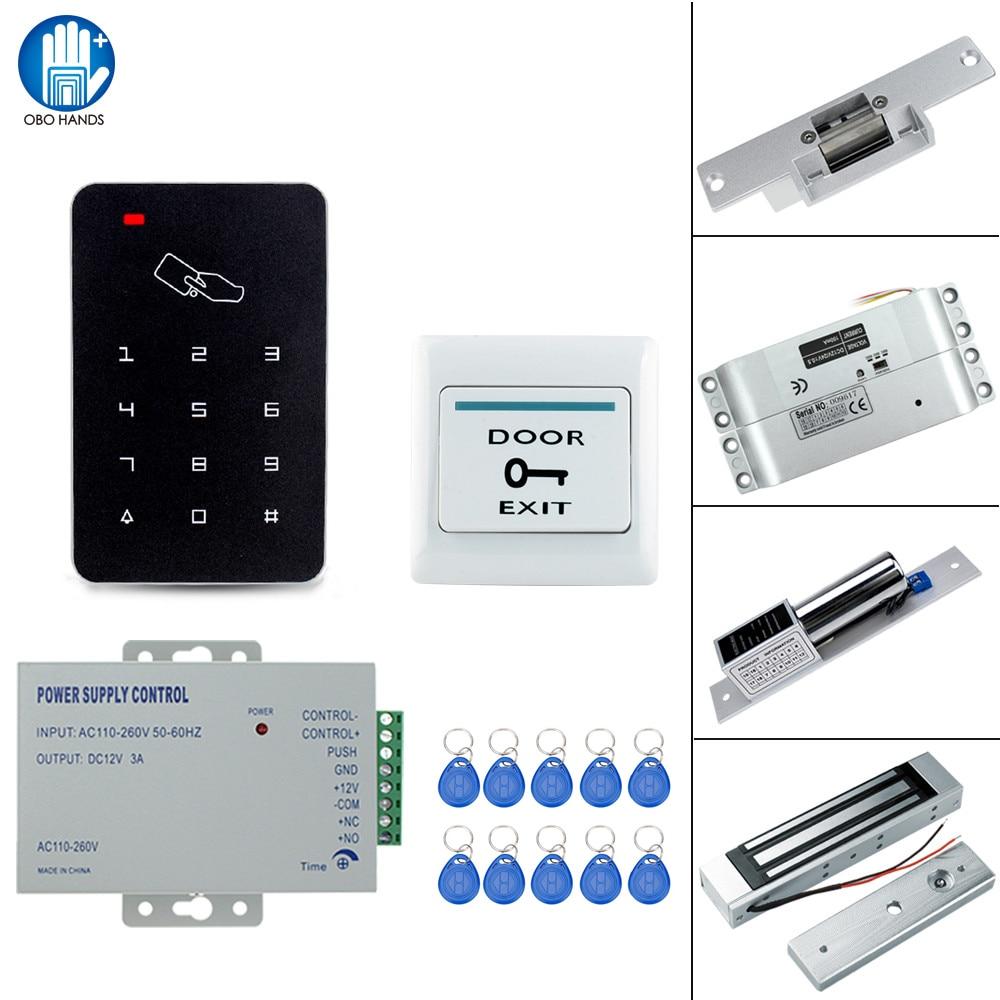 RFID Access Control Lock System Kit Set 125KHz EM Card Reader with 180KG Magnetic Lock/Electric strike Bolt Lock for home/office