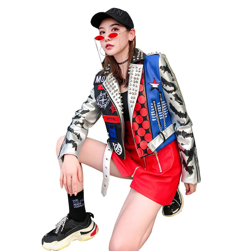 Leather   Jacket Women Punk Style Rivet Graffiti Moto Jacket   Leather   Coats 2019 New Fashion Streetwear Women's Faux   Leather   Jacket