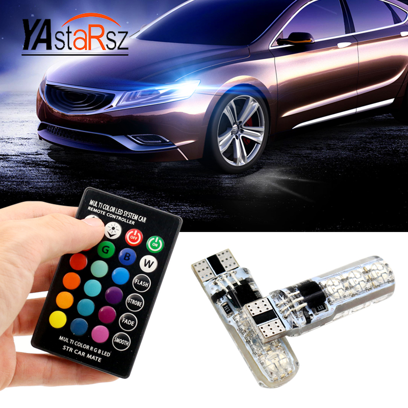 RGB Canbus Error Free Car Wedge Light W5W T10 168 194 LED Auto Lamp Bulb For AUDI A2 A3 8L 8P A4 B5 B6 A6 4B 4F A8 D2 TT C5 C6 10pcs led car interior bulb canbus error free t10 white 5730 8smd led 12v car side wedge light white lamp auto bulb car styling