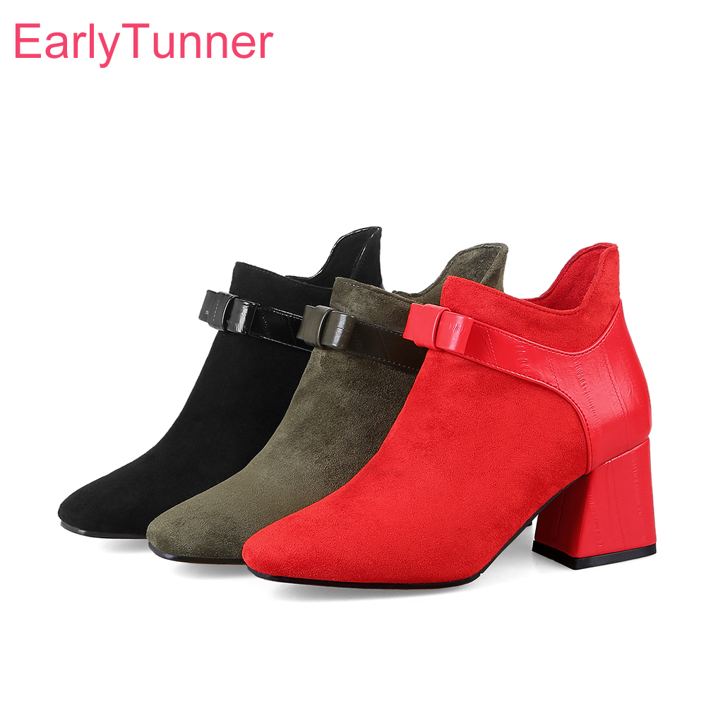 Brand New Winter Green Black Women Ankle Riding Boots Red Breathable Lady Nude Shoes Chunky Heel EY602 Plus Big Size 11 32 43 48 brand new sexy women motorcycle boots black red beige white lady ankle riding shoes fashion nude heels ay902 plus big size 43 48