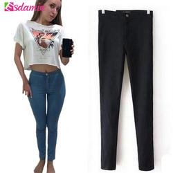 Горячая распродажа весна карандаш узкие джинсы женщина мода высокой талией джинсы растянуть карандаш женские брюки джинсы леди брюки