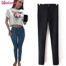Venda quente da Primavera de Cintura Alta Calça Jeans Skinny Jeans Mulher Femme Estiramento das Mulheres Calças Jeans Femininas Calças Jeans Para As Mulheres