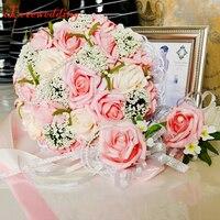 Handmade Wspaniałe Kwiaty Ślubne bukiet de mariage 2017 Nowy w magazynie Fioletowy/Różowy/Niebieski/Zielony Bukiety Ślubne sztuczny Kwiat