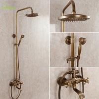 Античная Кран Стены Водопад Бронзовый набор для душа Ванная комната смеситель для душа экономии воды Ванная комната Насадки для душа Тропи