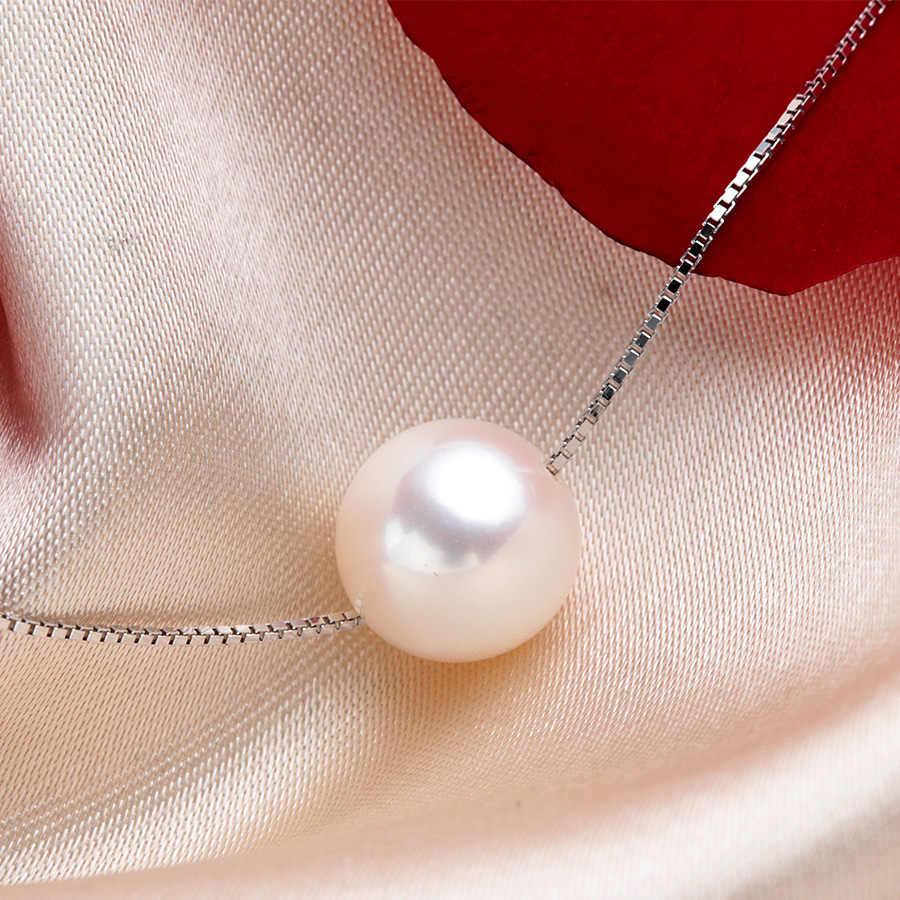 O mais baixo Preço 100% Colar de Pérolas Naturais Rodada 45 cm!! Moda 925 Sterling Silver White Freshwater Pearl Pendant Com Caixa
