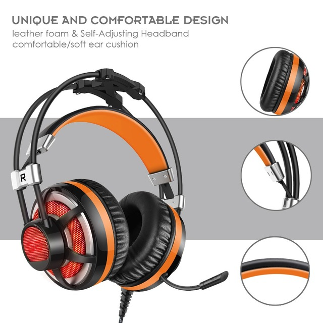Professional G6 game headphones with microphone gaming headset 3.5mm stereo auriculares glowing LED Light USB for PC Computer