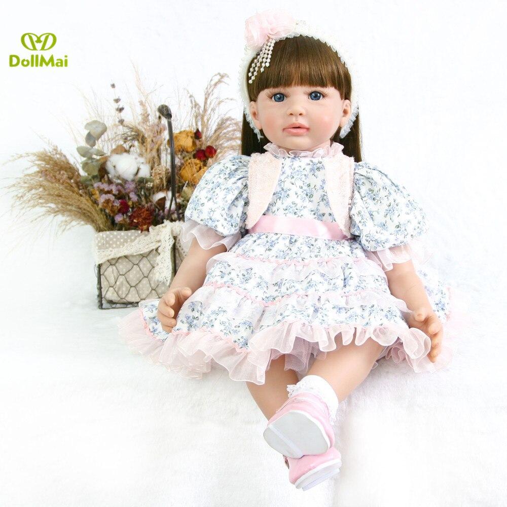 60 cm Silicone Reborn Bébé Poupée Jouets 24 pouces Vinyle Princesse Toddler Bébés Poupée lol Cadeau D'anniversaire original longhair fille