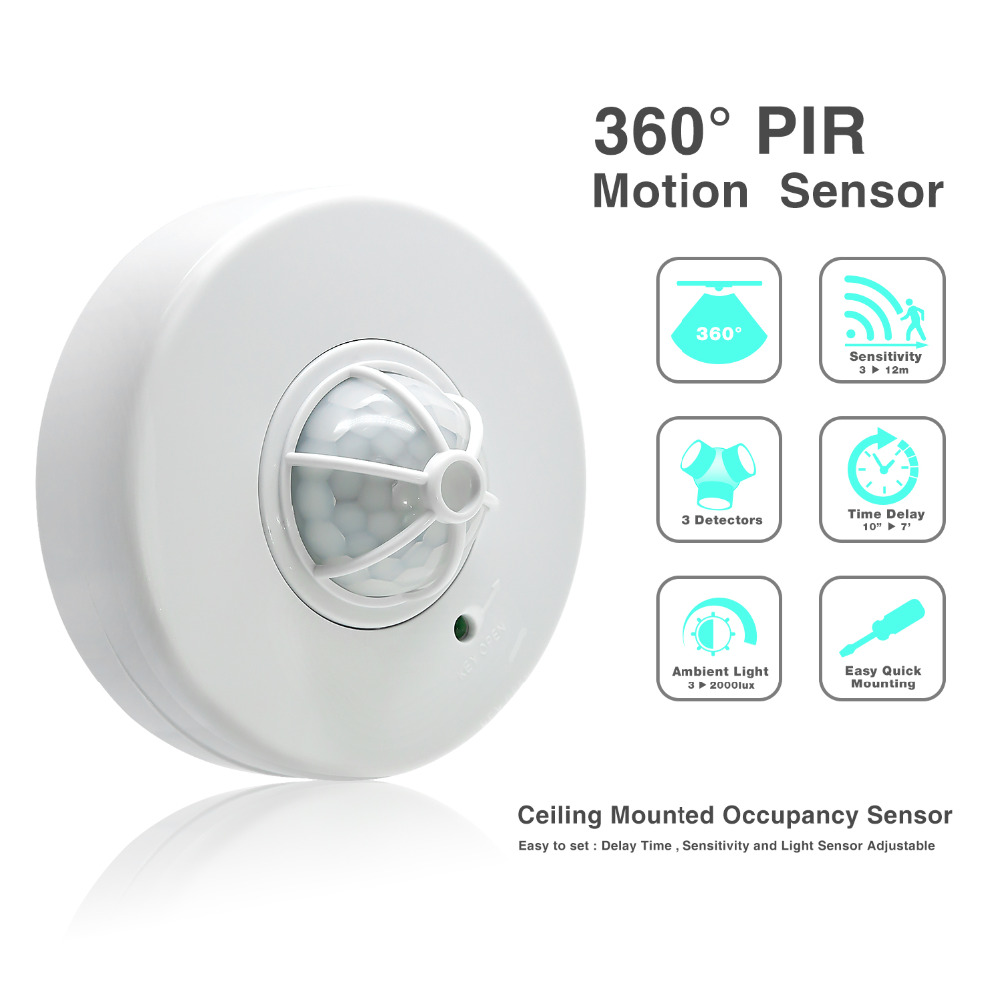High Sensitivety adjustable 360 degree  Ceiling Motion Sensor with 3 Detectors 110V 220V led light switch 036B ds 360 solar sensor led light black