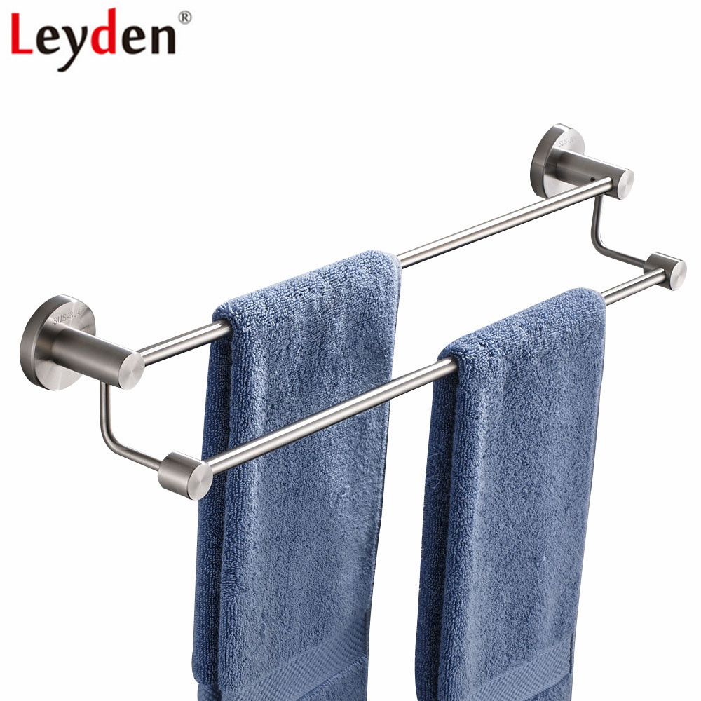 Leyden Wall Mounted Brushed 304 Stainless Steel Double Towel Bars Silver Bathroom Towel Hanger For Bathroom Accessories free shipping bathroom accessories products solid 304 stainless steel nickel brushed double towel bars towel holder sus003