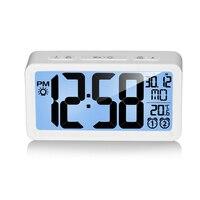 LCD Smart Electronic Clock Desktop Temperature Date Digital Alarm Clock Double Ring Wake Up Luminous Modern Design Decoration