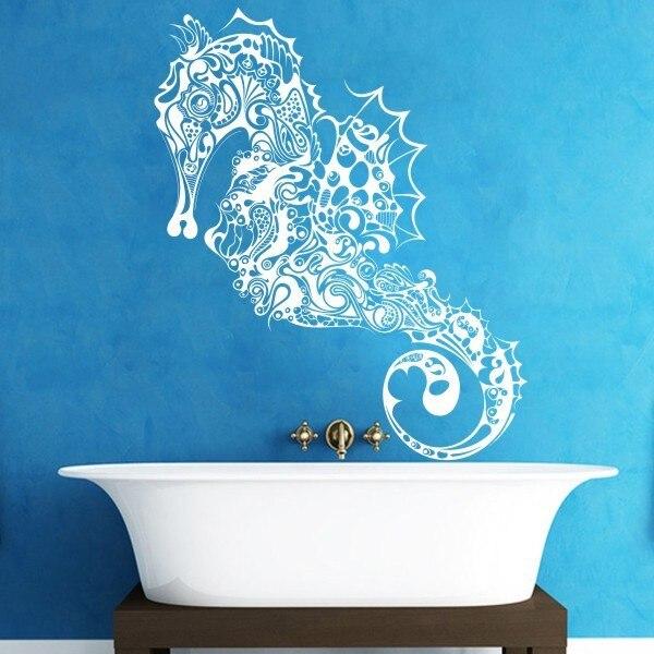 Home decoration seahorse Vinyl wall Decal Fish hippocampus Sticker Ocean  wall art Graphics 213cm x110cm