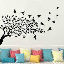 Tree Wall Sticker Birds Vinyl Home Decor For Living Room Bedroom Interior Design Decals Removable Murals Transfer Film 3593