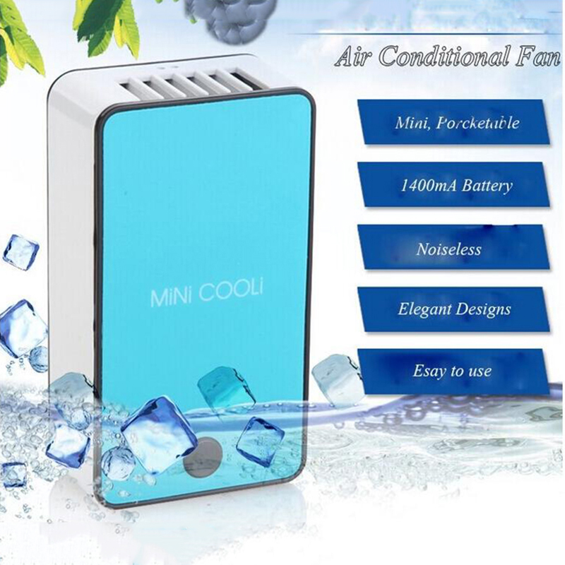 купить 2017 New Mini Portable HandHeld Table Air Conditioner Cooler Cooling USB Rechargeable Battery Bladeless Fan недорого