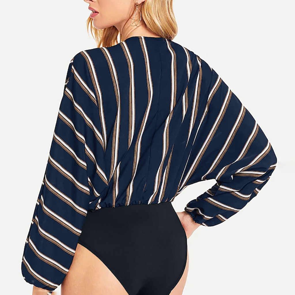 2019 春の新作セクシーな女性のファッションブラウス V ネック長袖腰椎ストライプセクシーな無料船