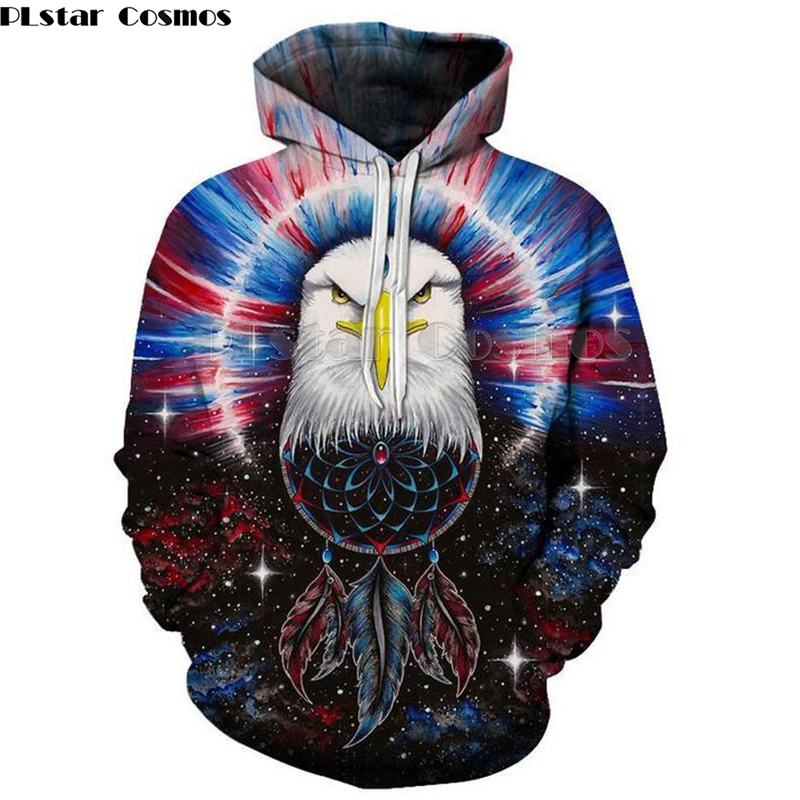 PLstar Cosmos USA Eagle Print 3D Hoodies Men Punk Casual Sweatshirts American Flag Harajuku Hooded Tops Hip Hop Unisex Pullover